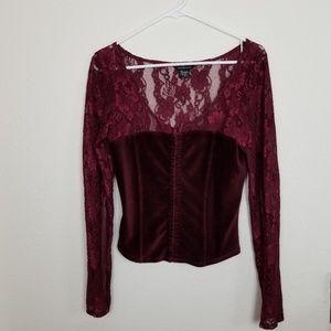 Moda international| lace long sleeve